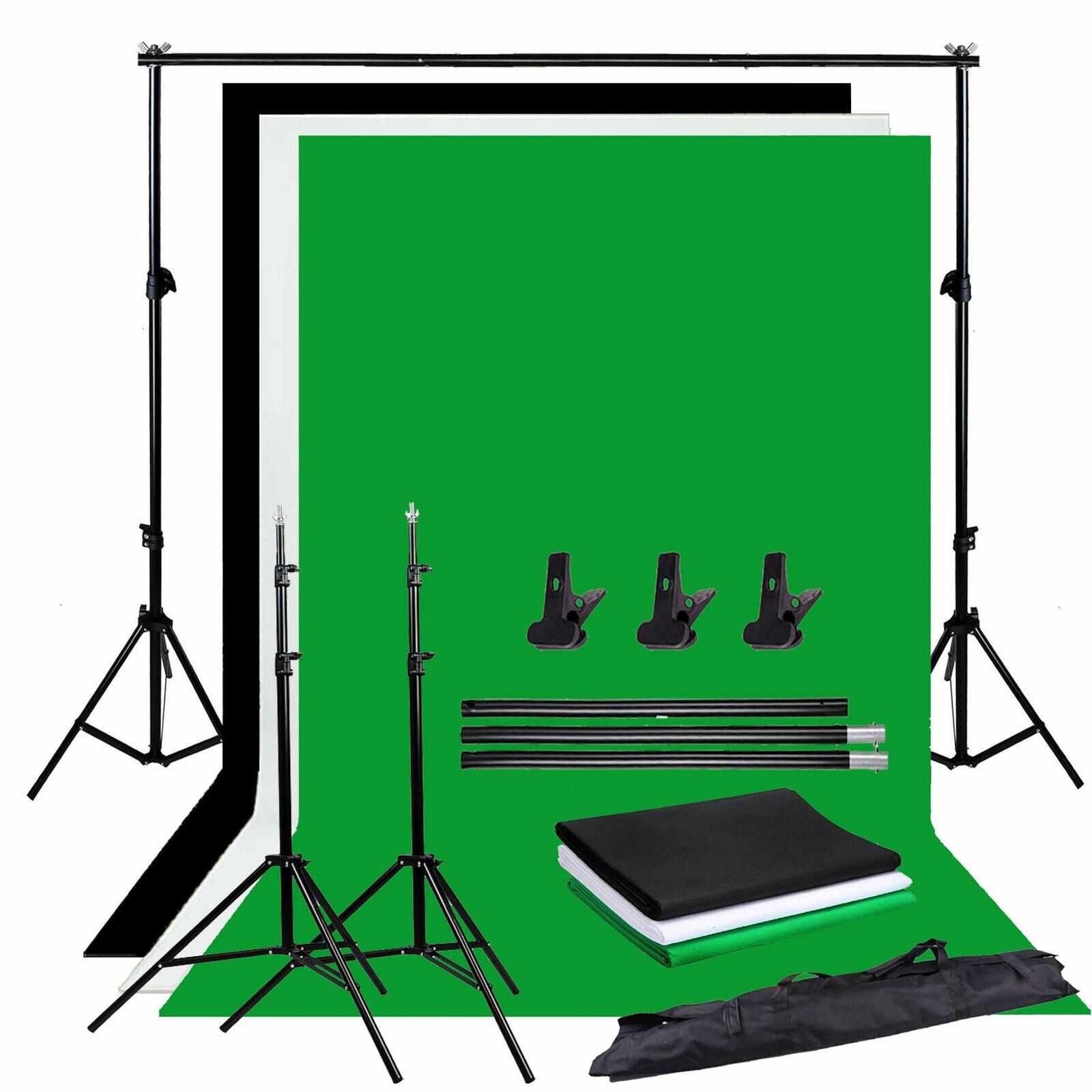 ZUOCHEN Photo Studio Backdrop Chroma Key Black White Green Screen Background Stand Kit With 2M Studio Backdrop Support Kit